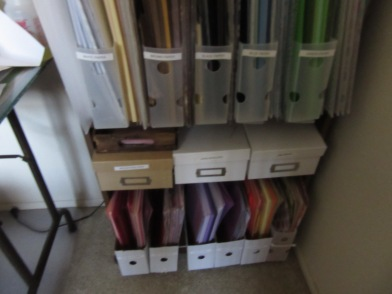 My organized paper rack includes printed paper organized in same color